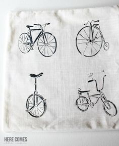 Bicycle stenciled pillow