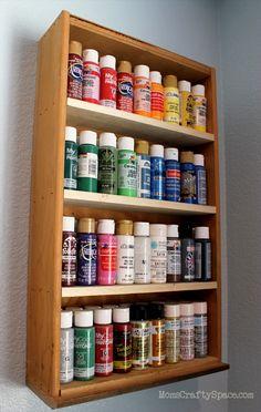 Repurposed: Drawer to Craft Paint Storage Shelf - Happiness is Homemade