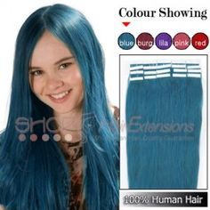16 Inch 20pcs Tape Premium Remy Human Hair Extensions Straight Blue,£30.10