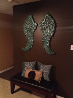 Large Rustic Angel Wings  Distressed Wood Wall Decor.