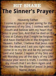 ♥ ✞ Sinners Prayer
