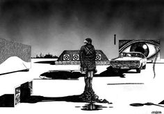 Illustration by John Coulthart for The Atrocity Exhibition, one of a projected series, 1984