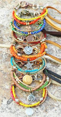 Friendship Bracelets: Everyday Glass, Mixed Metal and Leather Friendship Bracelets  Click here to Buy