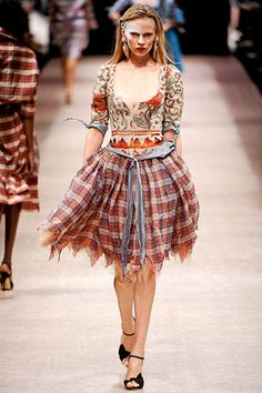 Vivienne Westwood inspiration  - love the gingham skirt and unusual hem