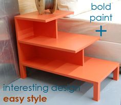 Not gonna use orange paint...but I like the style!!  Ana White   Build a Step Up Side Table   Free and Easy DIY Project and Furniture Plans