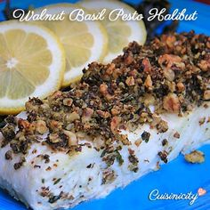 Another easy recipe that looks like you labored over it! Needless to say the nutrition is impeccable! Walnut Basil Pesto Halibut   Print Author: Catherine Katz Ingredients 2 slices halibut (li...