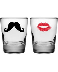 Moustache and Kiss Double Old Fashioned Glasses (Set of 2)