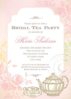 Shabby Chic Bridal Tea Party - Printable Invitation $14.99