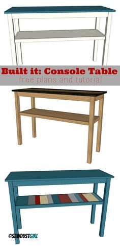 Versatile Console Table Plans - sawdustgirl.com/