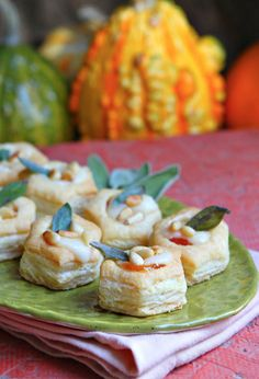 Apricot- Brie Bites with Toasted Pine Nuts and Crispy Sage