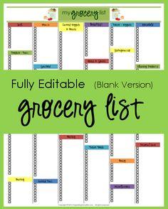 Editable Grocery List (Blank Version)