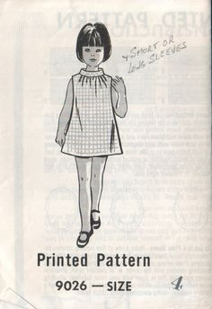 mail order 9026, vintage 60s children's marian martin dress pattern, toddler size 4, chest 23 FREE SHIPPING to canada and usa. $7.00, via Etsy.