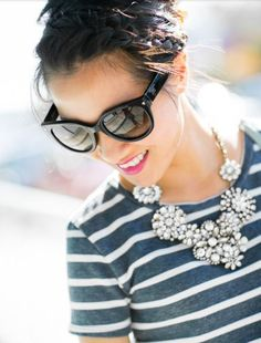 Stripes and a statement necklace.