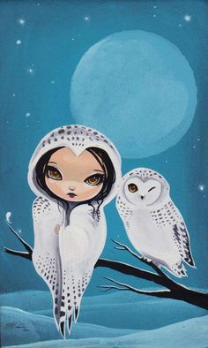 girl and owl by Jasmine Becket-Griffith