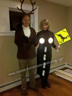 """Deer Caught in the Headlights"" couples Halloween costume. Too funny!!"