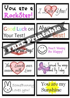 Free Back to School Printable Lunch Box Love Notes for Girls #printables #backtoschool #inspireothers