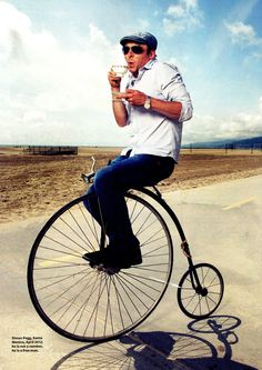 Simon Pegg on a bicycle, Because that is the best way to have tea