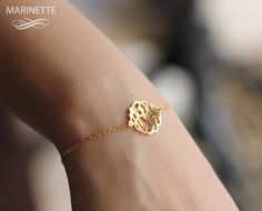 5/8 in monogram side attached on gold plated by MarinetteJewelry