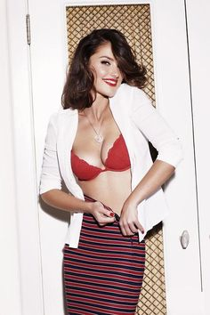 Minka Kelly undone top and red lace