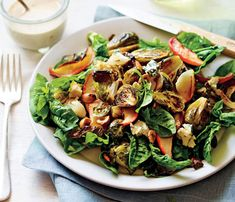 Healthy Vegetarian Recipes Straight From the Farm: Roasted Brussels Sprout and Apple Salad. The maple-tahini dressing is rich but not heav, so you won't feel weighed down. #SelfMagazine