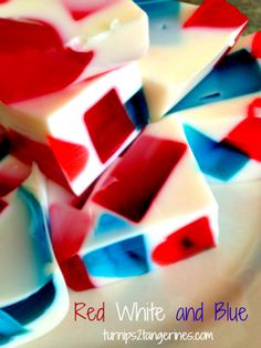 Red White and Blue Jello Squares