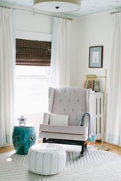 #nursery, #rocking-chair, #ottoman, #curtains, #pouf, #side-table, #neutral  Design: Honey & Fitz - honeyandfitz.com/ Photography: Ruth Eileen Photography - rutheileenphotography.com  View entire slideshow: 20 Traditional Nursery Ideas on http://www.stylemepretty.com/collection/398/