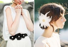 Black bridal helt and feather clip from Hushed Commotion