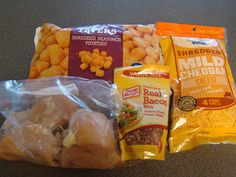 Cheesy Chicken (and Bacon) Tator Tot Crock-pot Casserole. Super easy and tasty!  One of Jesse's favs and so easy!