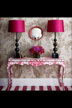 Paint and patterns in shades of pink and cream.