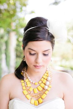 Yellow necklaces. Kate Spade. Photography: Chelsey Boatwright Photography - chelseyboatwright.comRead More: http://stylemepretty.com/2013/10/11/kate-spade-inspired-wedding-shoot-from-chelsey-boatwright-photography/