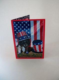 Shih Tzu Patriotic Card Military Card July Fourth by Lillyzcardz, $4.00