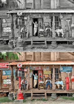 """(Via Reddit) Library of Congress description of this photo: """"July 1939. Gordonton, N.C. """"Country store on dirt road. Sunday afternoon. Note kerosene pump on the right and the gasoline pump on the left. Rough, unfinished timber posts have been used as supports for porch roof. Negro men sitting on the porch. Brother of store owner stands in doorway""""    This store is located at 75 Wheelers Church Road, North Carolina ."""