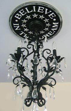 """Believe in the Dream"" chandelier medallion - lovely!"