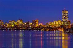 Boston Skyline at Dawn over Charles River from Boston University Bridge