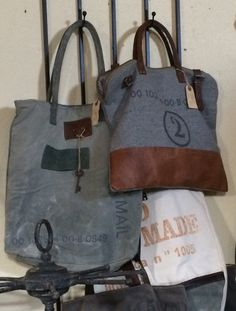 Reclaimed canvas and other material to create such interesting bags to enhance your casual style