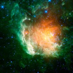 A new infrared image from NASA's Wide-field Infrared Survey Explorer, or WISE, shows a cosmic rosebud blossoming with new stars. The stars, called the Berkeley 59 cluster, are the blue dots to the right of the image center.