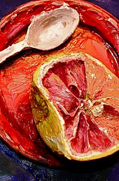Living Paintings: Pics, Videos, Links, News: This is a real grapefruit that has been painted to look like a painting. Amazing.