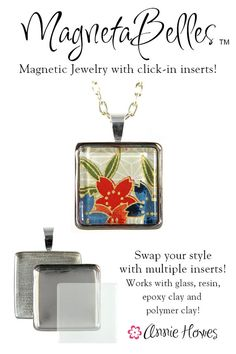 """MagnetaBelles Square Magnetic Pendant Trays. Includes 2 1"""" square inserts with glass."""