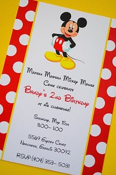 mickey party invite