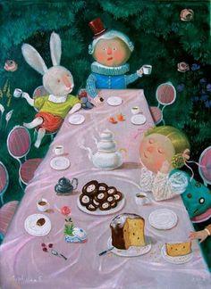 wonderland theme, eugenia gapchinska, tea parti, mad, teas, parties, alice in wonderland, eugen gapchinskaya, illustr