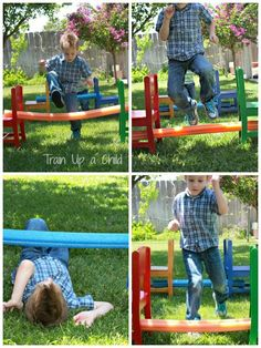 Pool Noodle Backyard Obstacle Course - Great, easy idea for outdoor playtime and perfect for a little kid's party - Might be cheaper or an idea for the siblings?