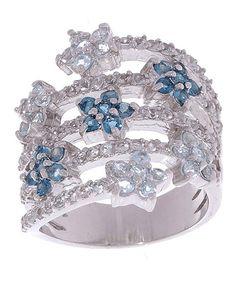 London Blue Topaz & Sterling Silver Flower Ring