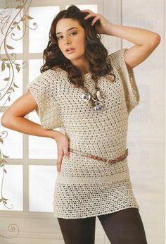 Crochet summer long dress with diagram.
