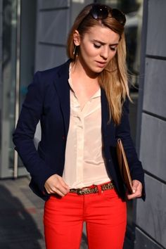 loving this color combo color combos, blazer, button, blous, summer outfits, summer clothes, style clothes, colored jeans, red pants