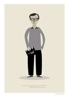 Woody Allen Print  8x10 or A4 by JudyKaufmann on Etsy, $25.00