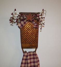 Antique Cheese Grater Country Primitive Kitchen Towel Holder Home Decor Decoration Make Do Grungy Rustic Farmhouse Rusty Metal wvluckygirl