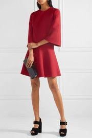Wool and silk-blend mini dress