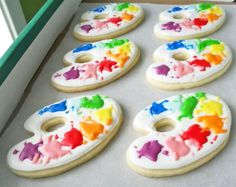 art party cookies art party, artists colors, artist cooki, cookie art, paint pallets, art supplies, new art, artist party, iced cookies