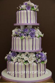 beauti cake, cake idea, purple, cake insan, purpl stripe, wedding cakes, cake collect, amaz cake, stripes