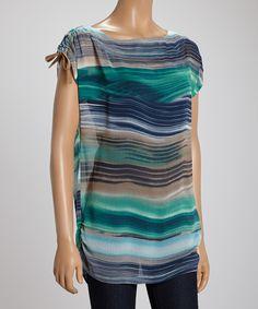 Blue & Gray Stripe Top